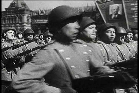 Russian troops in Stalinist army march in a public Footage