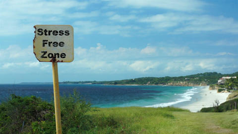 Beach Sign Stress Free Zone stock footage