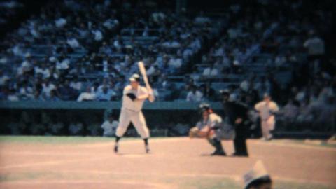 Professional Baseball Game Batter Swinging 1967 Live Action