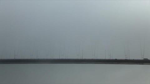 Bosporus Bridge Under Fog Footage