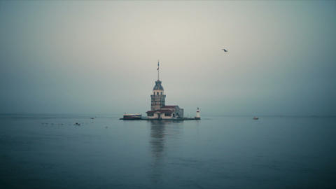 Maiden 's Tower at Foggy weather Footage