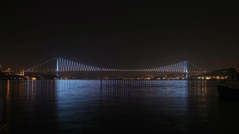 Bosphorus Bridge Lights and Reflections on Sea Footage