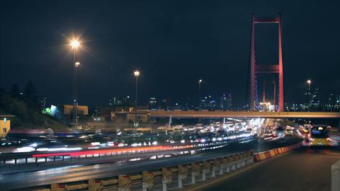 Time Lapse Bridge Night Traffic Footage