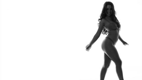 Silhouette Of Sexy Dancing Woman In Lingerie stock footage