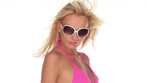 Sexy woman in sunglasses with blowing hair Footage