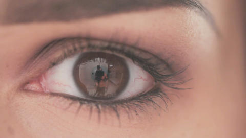 Eye of Young Woman With Natural Makeup Footage
