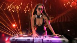 Glamorous sexy busty DJ Footage