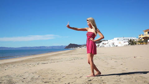 Woman Beach Sundress Picture stock footage
