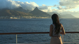 Girl Watching The Cape Town Peninsula From A Ship  stock footage