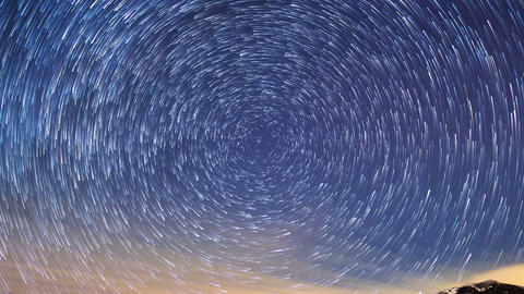 Stars leave traces. Time Lapse. 4K Footage