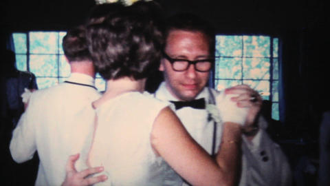 Bridal Party Dancing At Wedding 1966 Vintage 8mm stock footage