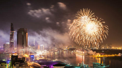 1080 - TET - CHINESE NEW YEAR FIREWORKS - HO CHI M stock footage