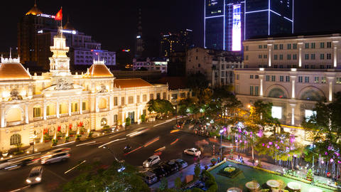 1080 Time Lapse of Saigon City Hall, Vietnam Footage