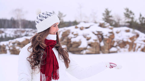 Winter girl. Copyspace Footage