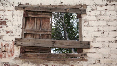 Boarded Up Window Dolly stock footage
