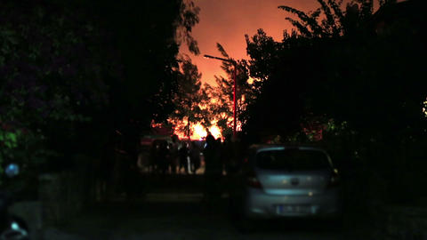 forest fire near houses Footage