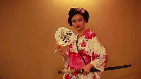 Japanese geisha with sword Footage