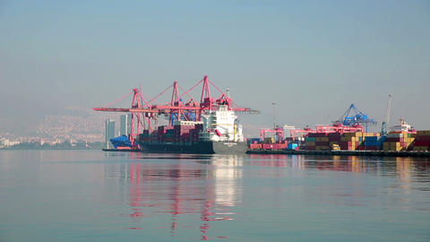 Transportation Ship At Harbor stock footage