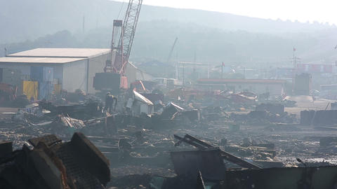 Industrial Scrapyard stock footage