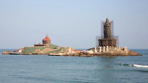 Coastal scene with Hindu statue Footage