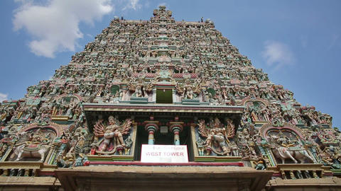 Ornate Facade Of Hindu Temple stock footage