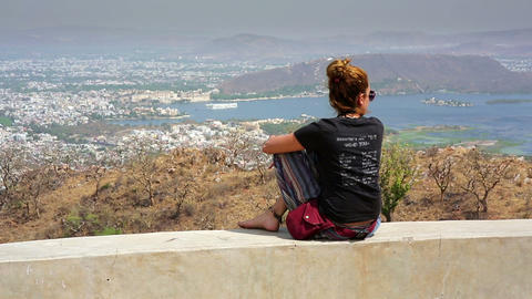 Female tourist looking at view Footage