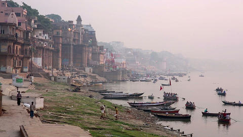 Everyday scene in Varanasi Footage