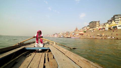 indian boatman at varanasi ganga river Footage
