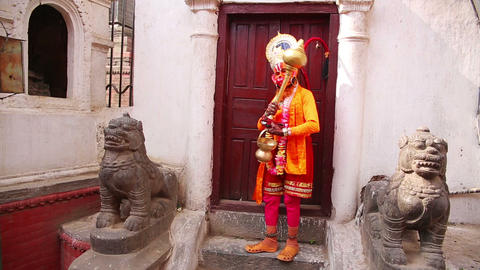 Man Wearing Hanuman Costume stock footage