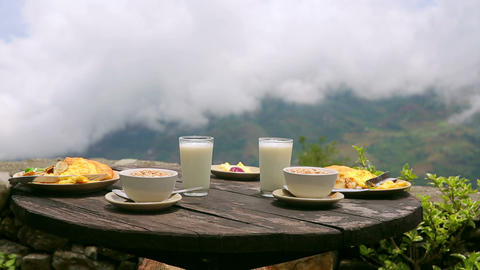 Organic delicious breakfast at himalayas mountain, Footage