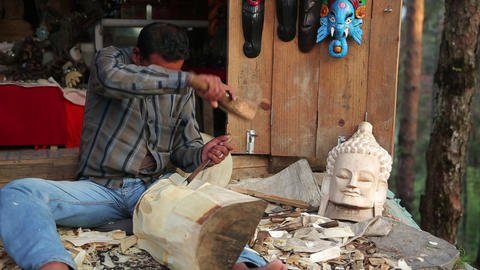Local artist making sculpture Footage