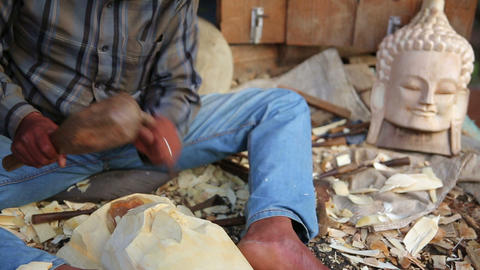Local artist making sculpture Footage