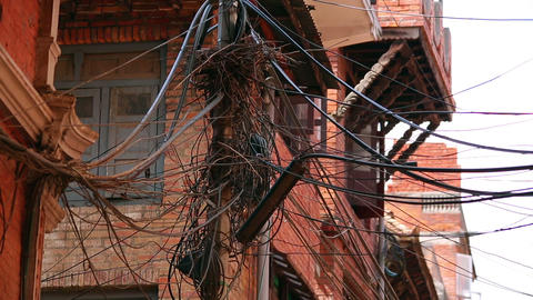 infrastructure shortage, messy electric cables Footage