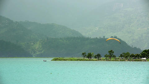 Paragliding over Pokhara Lake, Nepal Footage