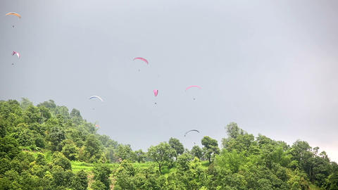 Paragliding over Pokhara, Nepal Footage