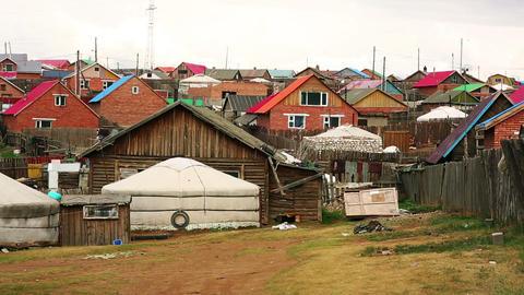 Mongolian Ger at Ulaanbaatar Suburbs Footage