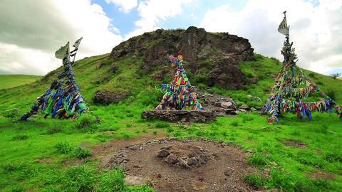 Shaman Adak Tree, prayer's flag Footage