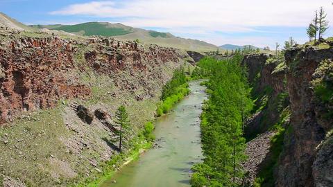 Chuluut River, Khangai Mountains, Mongolia Footage