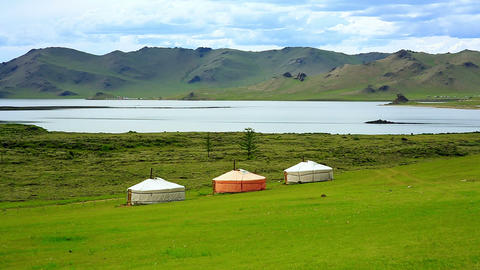 Yurt Settlements, Terkhiin Tsagaan Lake, Central M stock footage