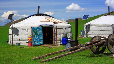 Mongolian ger camps with solar power Footage