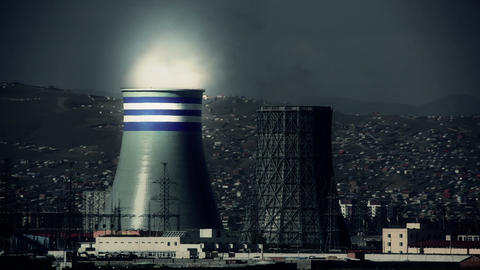 Power Station And Ulaanbaatar Cityscape, Retouched stock footage