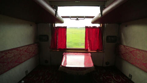 Empty trans siberian train compartment Footage