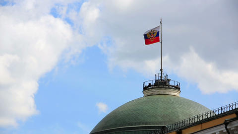 Russian Flag Flying Over Kremlin Dome stock footage