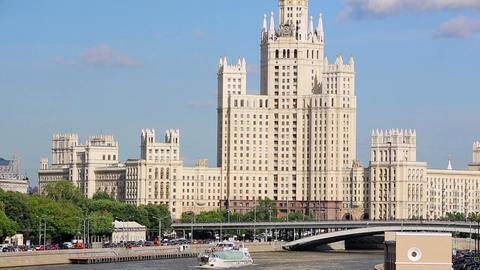 Stalinist era building in Moscow Footage