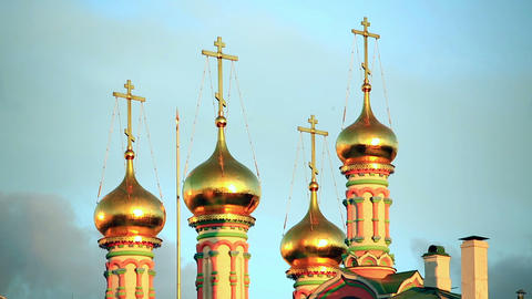 Golden domes with cross over Kremlin Footage