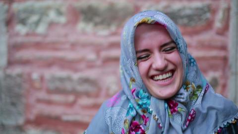 Portrait of happy muslim girl Stock Video Footage