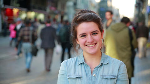 Young woman posing in street Footage