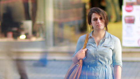Girl in front of shopping mall Footage