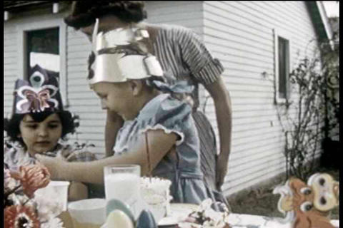 A 1950''s housewife prepares a surprise party for  Footage