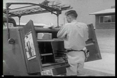 Archival black and white film describing the innov Footage